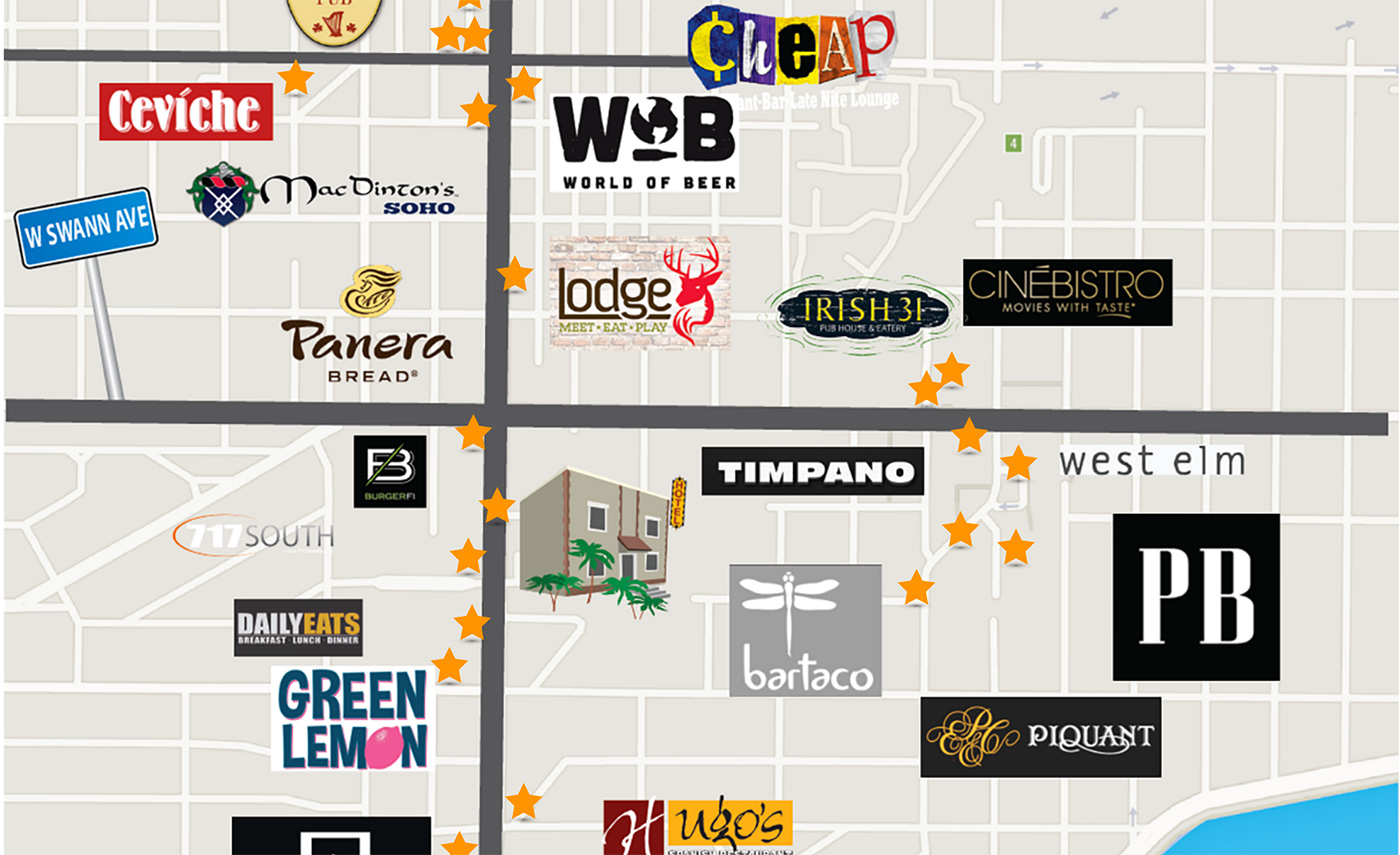 Florida Hotel Map.Hotel Located In Downtown Tampa Fl Hyde Park Hotel